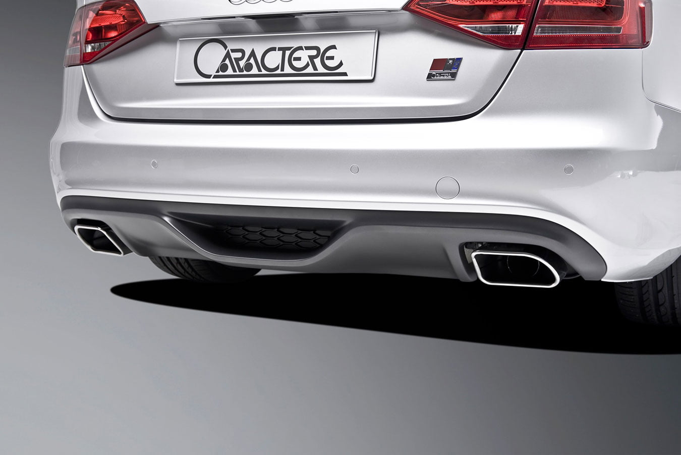 Caractere Rear Diffuser with 2 Mufflers, fits Audi A4 B8.0 S-Line 2.0 TDI / 1.8 TFSI