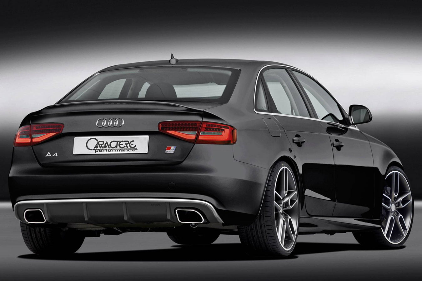 caractere rear diffuser with dual exhaust fits audi a4 b8. Black Bedroom Furniture Sets. Home Design Ideas