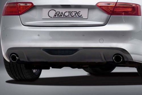 Caractere Rear Diffuser with 2 Cuttings for Single Exhaust Pipe, fits Audi A5 B8.0 2.7-3.0 TDI / 3.2 V6