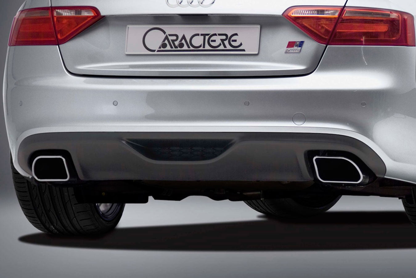 Caractere Rear Diffuser with 2 Mufflers, fits Audi A5 B8.0 2.0 TDI / 1.8 TFSI