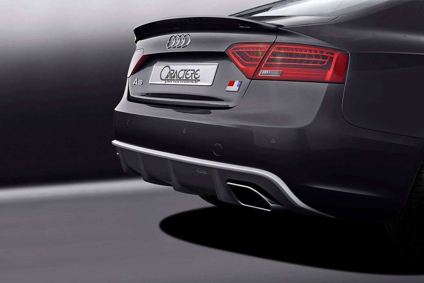 Caractere Rear Diffuser with Dual Exhaust, fits Audi A5 B8.5 2.0 TDI / 1.8 TFSI