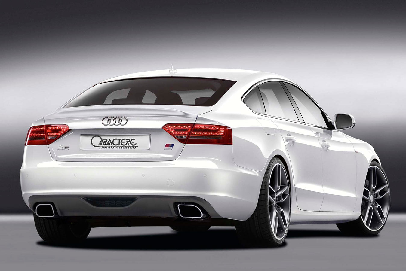 Caractere Rear Diffuser with 2 Mufflers, fits Audi A5 B8.0 Sportback 2.7-3.0 TDI / 2.0 TFSI / 3.2 V6