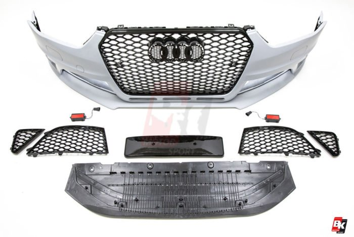 BKM Front Bumper Kit with Front Grille (RS Style), fits Audi A4/S4 B8.5