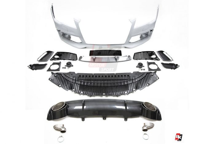 BKM Front Bumper Kit with Rear Diffuser (RS Style - Carbon), fits Audi A7 C7.0