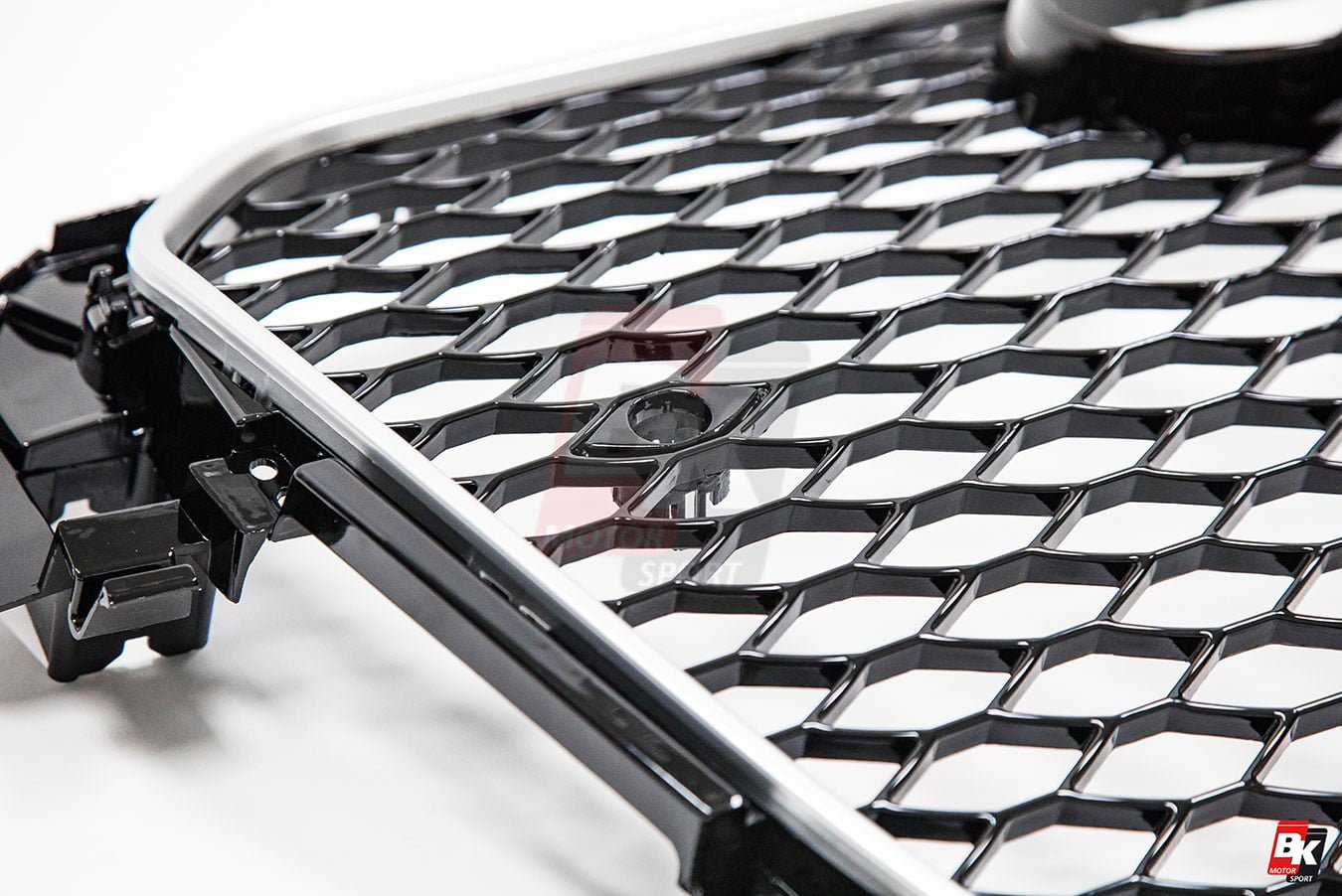 BKM Front Grille with Silver Frame (RS4 Style), fits Audi A4/S4 B8.5