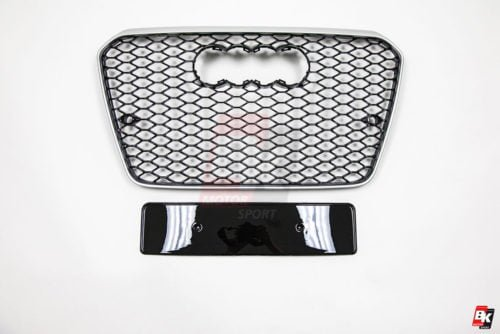 BKM Front Grille with Silver Frame (RS5 Style), fits Audi A5/S5 B8.5