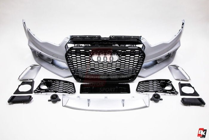 BKM Front Bumper Kit with Front Grille (RS Style - Glossy Black), fits Audi A6/S6 C7.0