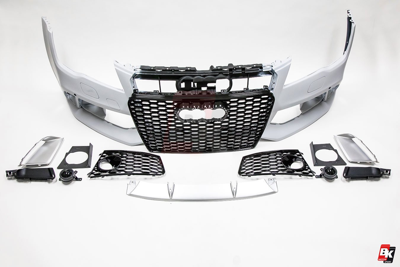 Bkm Front Bumper Kit With Front Grille Rs Style Glossy Black