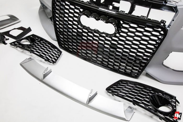 BKM Front Bumper Kit with Front Grille (RS Style - Glossy Black), fits Audi A7/S7 C7.0