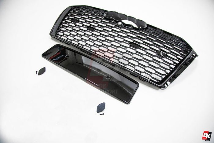BKM Front Grille with Black Frame (RS4 Style), fits Audi A4/S4 B9