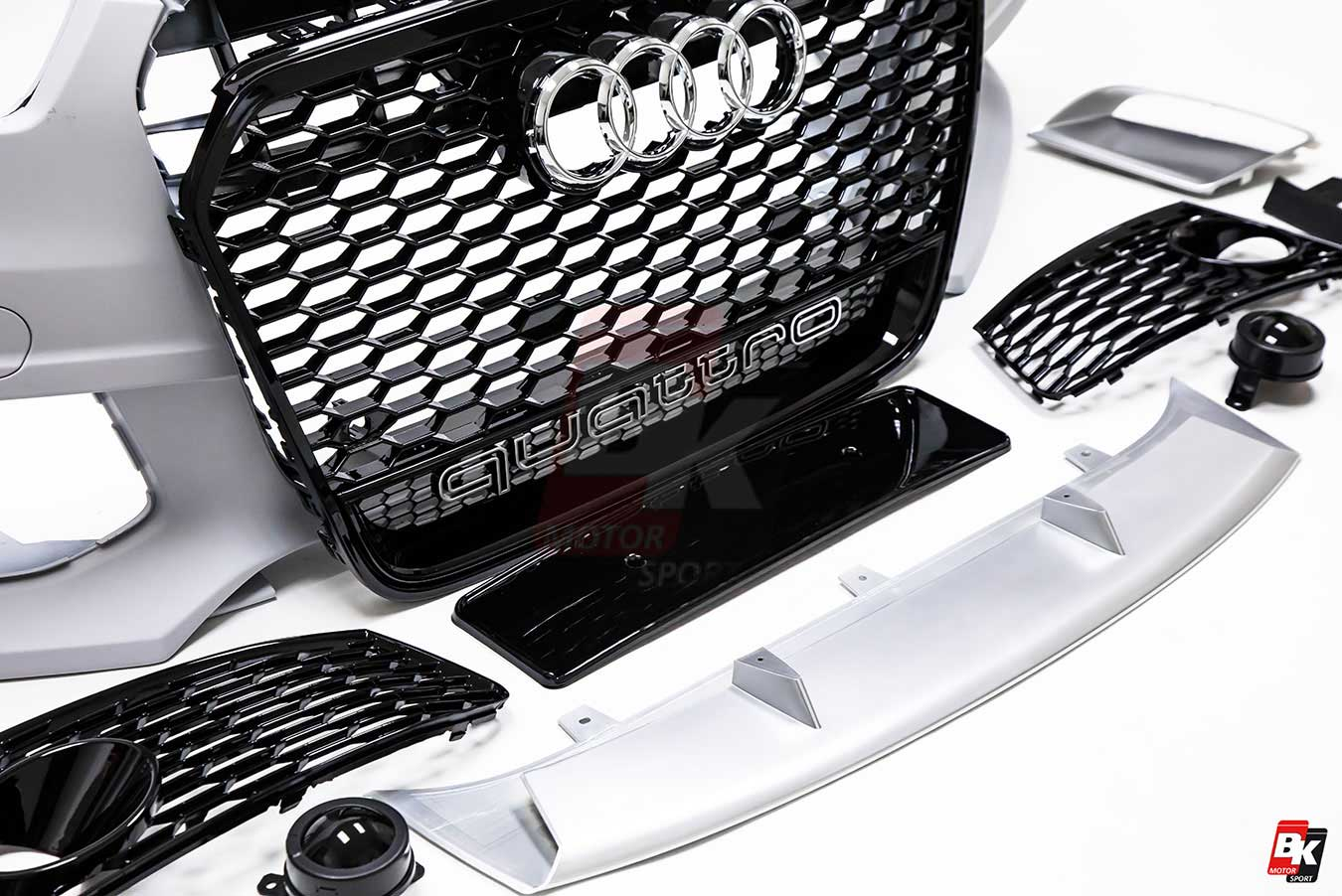 BKM Front Bumper Kit with Front Grille and Rear Diffuser (RS Style on 2007 audi rs, audi tt coupe, audi a5 rs, audi s rs, audi q7 rs, audi quattro rs, 2005 audi rs, audi a7 rs, audi rs 10, audi rs6 avant usa, audi q5 rs, audi a8 rs, audi a4 wagon, 2001 audi rs, audi estate v1.0, audi tt rs, audi r8 rs, audi rs v10, audi a3 rs, audi rs 5 coupe,