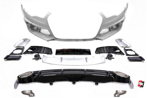 BKM Front Bumper Kit with Rear Diffuser (RS Style - Glossy Black), fits Audi A6 C7.0