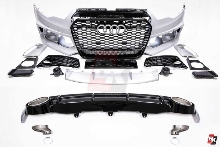 BKM Front Bumper Kit with Front Grille and Rear Diffuser (RS Style - Glossy Black), fits Audi A6 C7.0