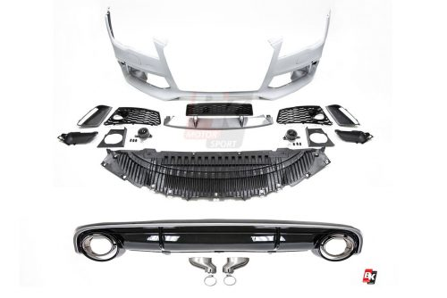 BKM Front Bumper Kit with Rear Diffuser (RS Style - Glossy Black), fits Audi A7 C7.0