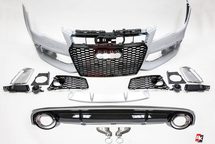 BKM Front Bumper Kit with Front Grille and Rear Diffuser (RS Style - Glossy Black), fits Audi A7 C7.0