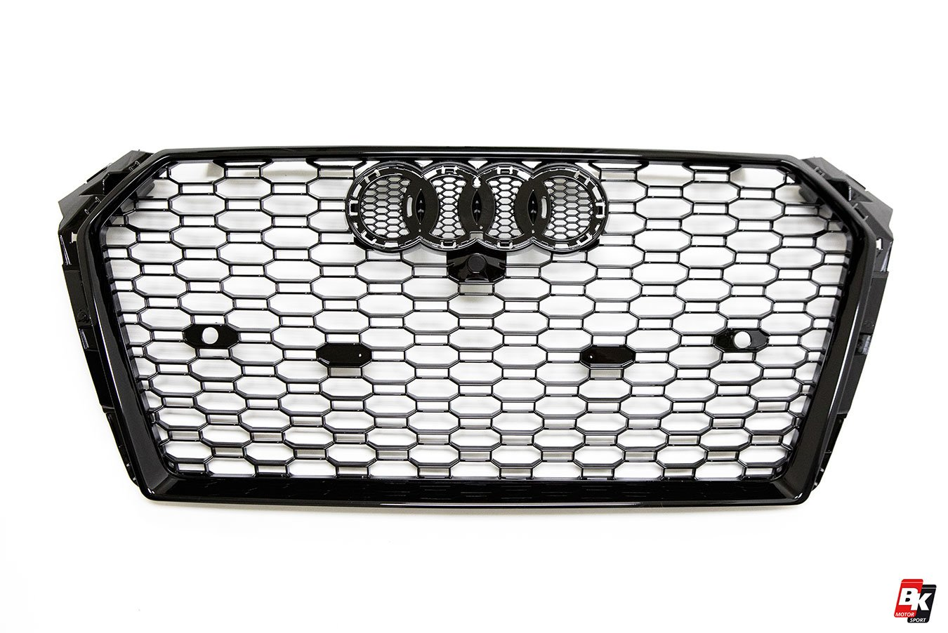 BKM Front Bumper Kit with Front Grille and Rear Diffuser (RS Style - Glossy Black), fits Audi A4 B9