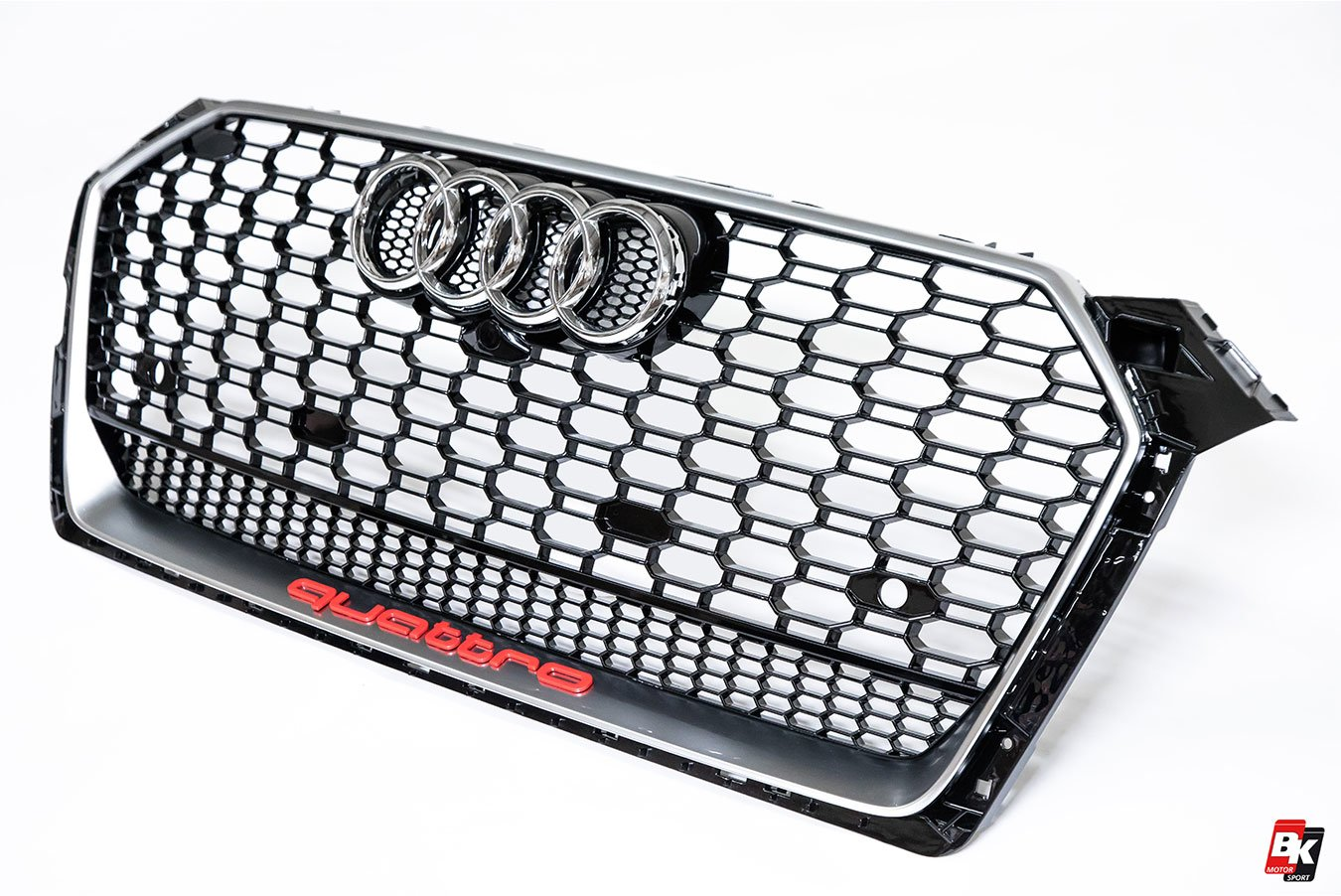 BKM Front Grille with Silver Frame (RS5 Style), fits Audi A5/S5 B9
