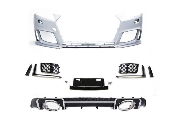 BKM Front Bumper Kit with Rear Diffuser (RS Style - Glossy Black), fits Audi TT/TTS Mk3