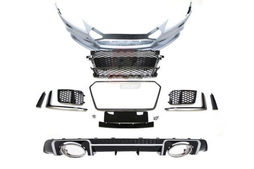 BKM Front Bumper Kit with Front Grille and Rear Diffuser (RS Style - Glossy Black), fits Audi TT/TTS Mk3