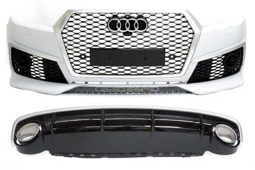 BKM Front Bumper Kit with Front Grille and Rear Diffuser (RS Style - Glossy Black), fits Audi Q7 4M