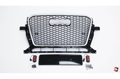 BKM Front Grille with Silver Frame (RSQ5 Style), fits Audi Q5/SQ5 B8.5