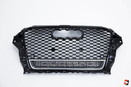 BKM Front Grille with Black/Silver Frame (RS3 Style), fits Audi A3/S3 8V.0
