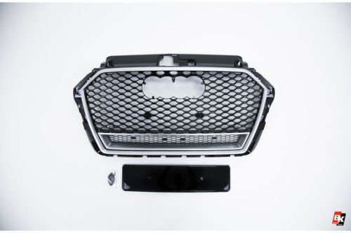 BKM Front Grille with Silver Frame (RS3 Style), fits Audi A3/S3 8V.5