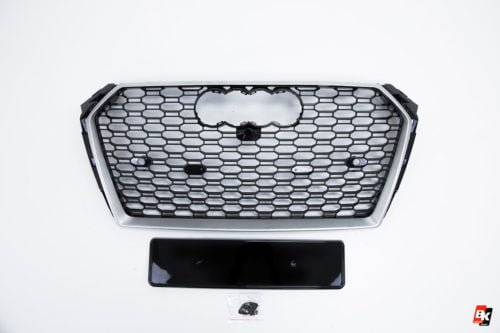 BKM Front Grille with Silver Frame (RS4 Style), fits Audi A4/S4 B9