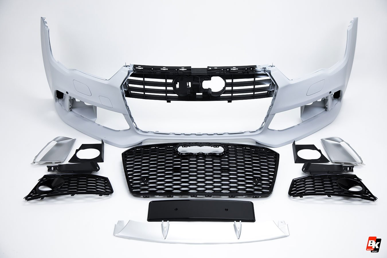 Bkm Front Bumper Kit With Front Grille Rs Style Black Fits Audi