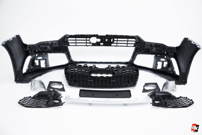 BKM Front Bumper Kit with Front Grille (RS Style - Black), fits Audi A7/S7 C7.5