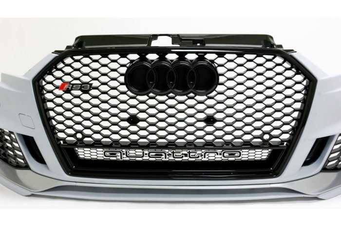 BKM Front Bumper Kit with Front Grille (RS Style), fits Audi A3/S3 8V.5