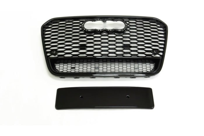 BKM Front Grille (RS Style - Glossy Black), fits Audi A6/S6 C7.0