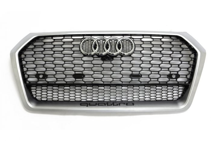 BKM Front Grille with Silver Frame, fits Audi Q5/SQ5 B9.0