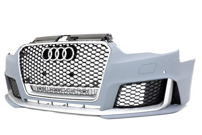 BKM Front Bumper Kit with Front Grille, Silver, fits Audi A3/S3 8V.0