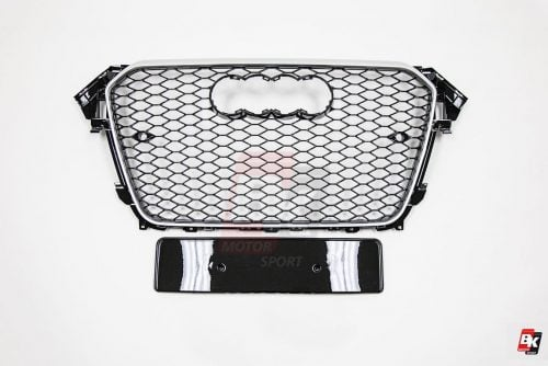 BKM Front Grille with Chrome Frame (RS4 Style), fits Audi A4/S4 B8.5