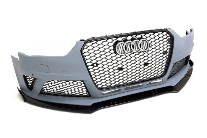 BKM Front Bumper Kit with Front Grille and Lip, fits Audi A4/S4 B8.5