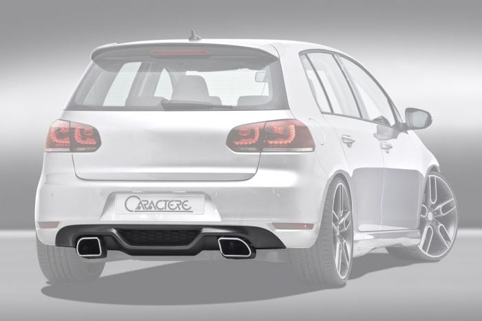 Caractere Rear Spoiler with Cuttings for Caractere exhaust, fits Volkswagen Golf 6