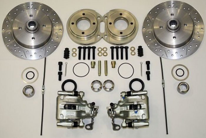 Kerscher Rear Disc Brake 130/4 Swing-Axle, Grooved and Drilled, fits Volkswagen Beetle