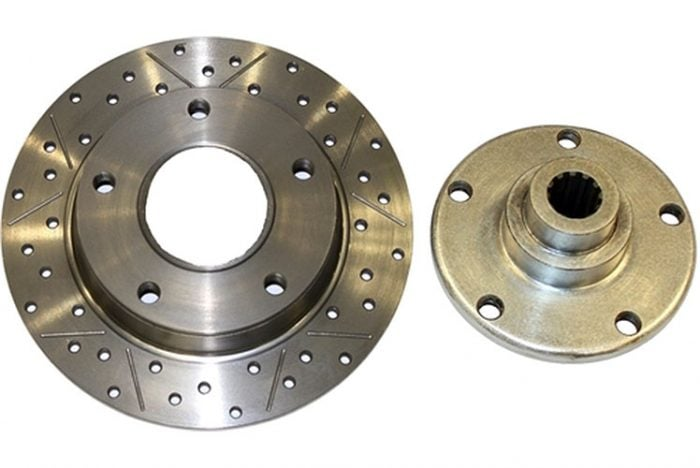 Kerscher Brake Disc Rear 130/5 2-piece Grooved and Drilled, fits Volkswagen Beetle