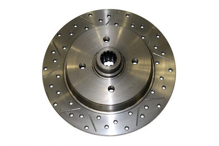 Kerscher Brake Disc Rear, Grooved and Drilled 100/4, fits Volkswagen Beetle