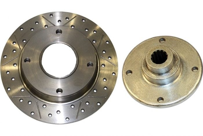 Kerscher Brake Disc Rear 130/4 2-piece, Grooved and Drilled, fits Volkswagen Beetle