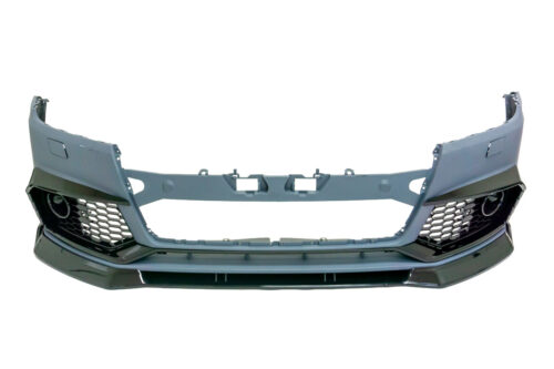 BKM Front Bumper with Lip, Glossy Black, fits Audi Q5 B9 Base Models
