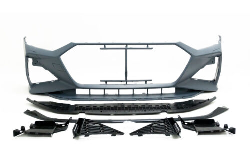 BKM Front Bumper Kit (RS Style) with Carbon Style Lip, fits Audi A7/S7 C8