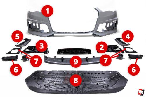 BKM Replacement Parts for BKM front bumper, fits Audi A6/A7 C7.5