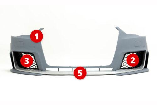 BKM Replacement Parts for BKM front bumper, fits Audi A3/S3 8V0