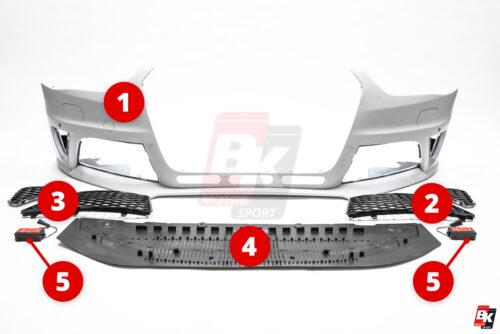 BKM Replacement Parts for BKM front bumper, fits Audi A4/S4 B8.5